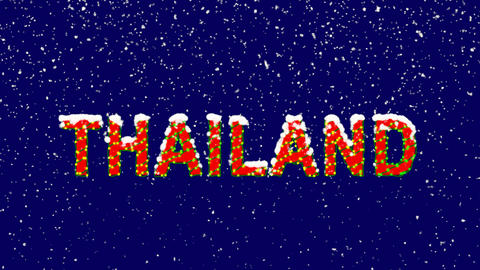 New Year text country name THAILAND. Snow falls.… Stock Video Footage