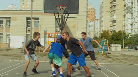 Streetball player scoring points after rebound Footage