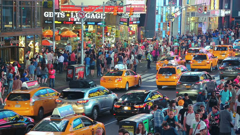 Yellow taxi cabs Times Square, New York City Live Action