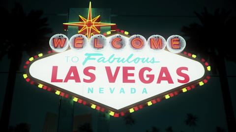 Las Vegas Sign - Nighttime Centered Rotating Crash Zoom Animation