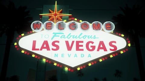 Las Vegas Sign - Nighttime Centered Rotating Crash Zoom Stock Video Footage