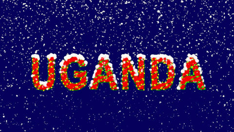 New Year text country name UGANDA. Snow falls. Christmas mood, looped video. Animation