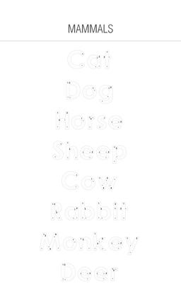 Mammals - Tracing Worksheet For Kids Photo
