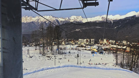 ski resort. shooting from the funicular in the snowy mountains Footage