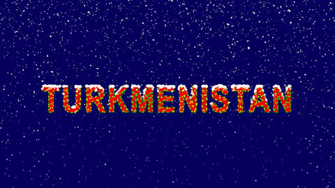 New Year text country name TURKMENISTAN. Snow falls. Christmas mood, looped Animation