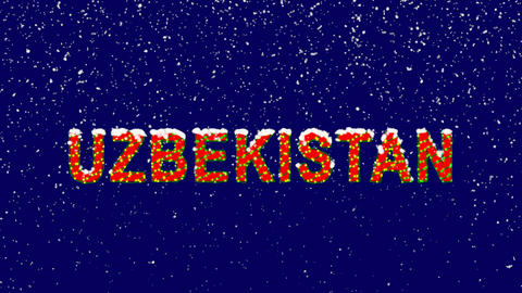 New Year text country name UZBEKISTAN. Snow falls. Christmas mood, looped video. Animation