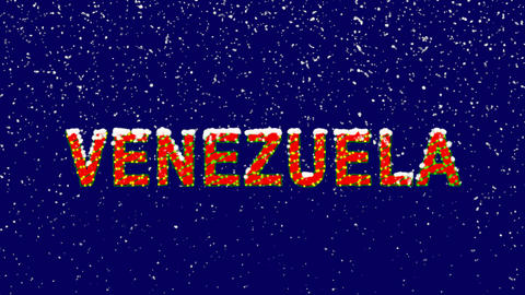 New Year text country name VENEZUELA. Snow falls. Christmas mood, looped video. Animation