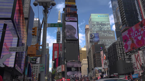 NEW YORK CITY: Pedestrians and traffic in Times Square in New York, NY Live Action