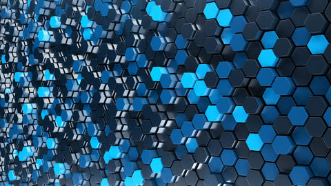Abstract blue hexagon geometry background Animation