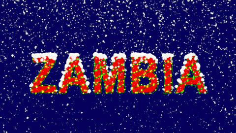 New Year text country name ZAMBIA. Snow falls. Christmas mood, looped video. Animation