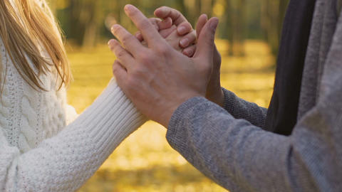 Loving couple holding hands, love story in autumn forest, partner support Live Action