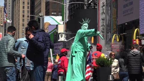 NEW YORK CITY: Pedestrians and traffic in Times Square in New York, NY Footage