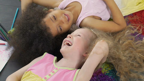 Mixed race best friends smiling and enjoying time together, anti-racism symbol Footage