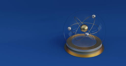 Animation of an atom in a crystal ball. Symbol of chemistry or physic in the CG動画