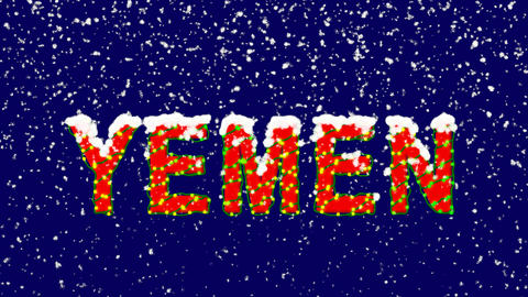 New Year text country name YEMEN. Snow falls. Christmas mood, looped video. Animation