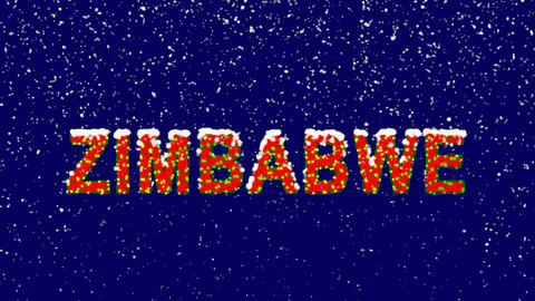 New Year text country name ZIMBABWE. Snow falls. Christmas mood, looped video. Animation