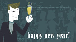 Elegant man toasting for the new year. Seamless loop Animation