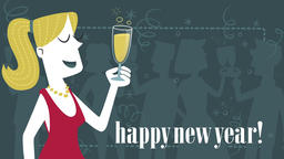Elegant woman toasting for the new year. Seamless loop Animation