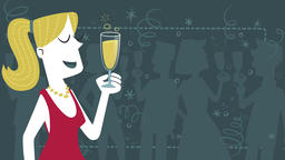 Elegant woman toasting. Seamless loop Animation