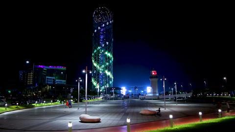Alphabetic tower beautifully lit at night, spending summer in Georgia, Batumi Live Action