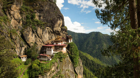 Time Lapse Of The Tiger's Nest In Bhutan Stock Video Footage