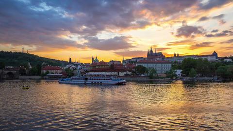 Day to night timelapse of Prague skyline in Prague, Czech Republic time lapse Footage