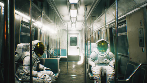 Astronauts go to work in the train. abstract looped cosmic fantasy Animation