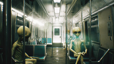 Alien go to work in the train. abstract looped cosmic fantasy Animation