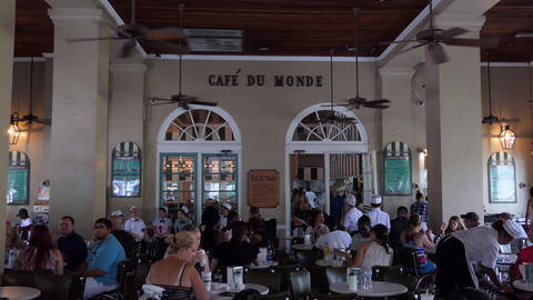 Cafe Du Monde Landmark And Tourist Destination In New Orleans Footage