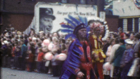 1954: Native American traditional ceremonial dress festive parade Footage