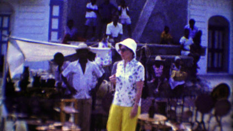1974: Tourist women shopping native caribbean souvenir markets Footage