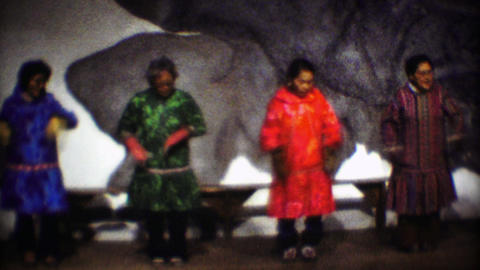 1974: Native Inuit tribal dance performance senior woman tradition Footage