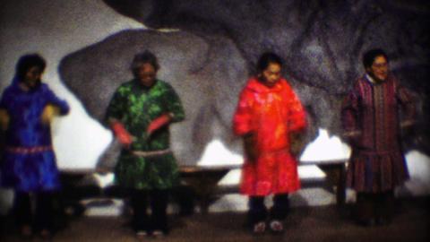 1974: Native Inuit tribal dance performance senior woman tradition Footage