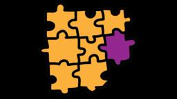 Pieces of Jigsaw Puzzle connected together animation with transparent background Animation