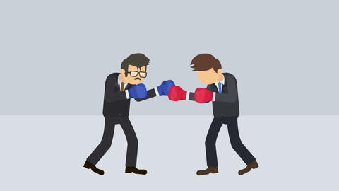 Business man battle in boxing gloves. Business competition concept. Loop Animation