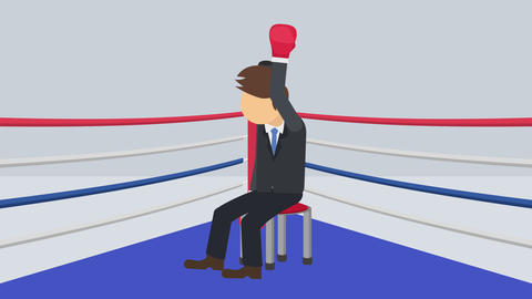 Business man battle win in boxing gloves. Business competition concept. Loop Animation