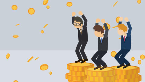 Rich business man. Inequality concept. Loop illustration in flat style Animation