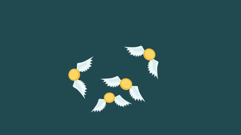 Money fly away. Business inequality concept. Loop illustration in flat style Animation