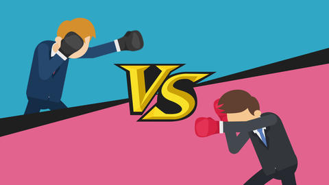 Business man battle in boxing gloves. Business competition concept. Loop CG動画素材