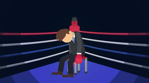 Business man battle lose in boxing gloves. Business competition concept. Loop Animation