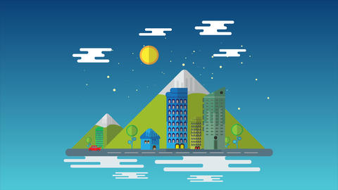 Flat cartoon city 0074 Animation
