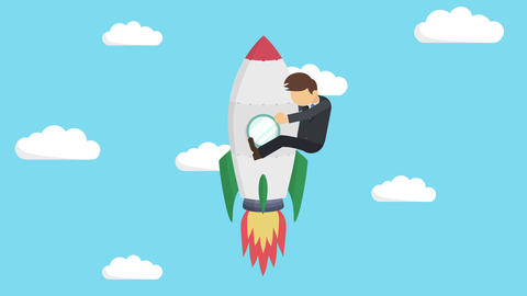 Business man flying on rocket through blue sky. Leap concept. Loop illustration Animation