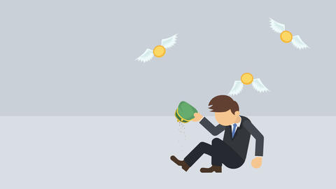 Poor business man. Inequality concept. Loop illustration in flat style CG動画