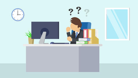 Business man is working. Thinking of troubled. Business emotion concept. Loop Animation