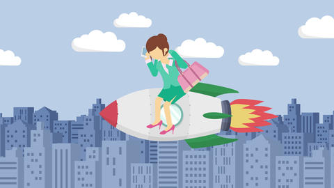 Business woman flying on rocket through the buildings. Leap concept. Loop Animation