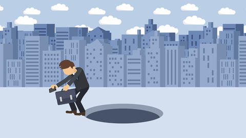 Business man fall into the hole. Background of buildings. Risk concept. Loop CG動画