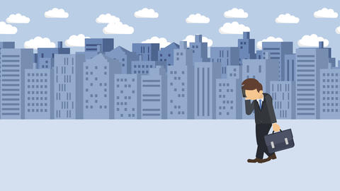 Business man fall into the hole. Background of buildings.…, Stock Animation