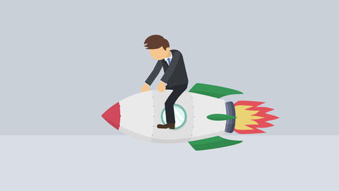 Business man flying on rocket. Leap concept. Loop illustration in flat style Animation
