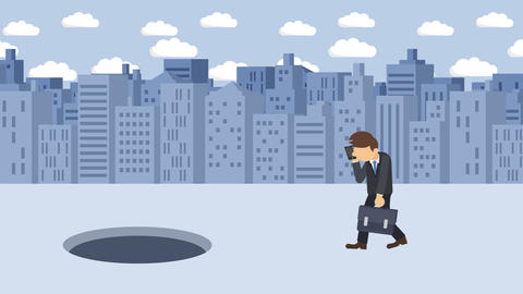 Business man fall into the hole. Background of buildings. Risk concept. Loop Animation