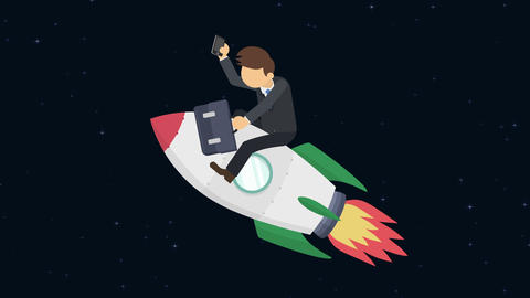 Business man flying on rocket through the space. Leap concept. Loop illustration Animation